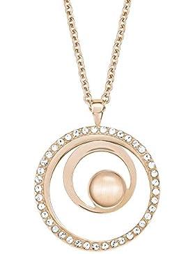 s.Oliver Damen-Kette mit Anhänger Swarovski Elements Kreise Edelstahl Kristall weiß Glas 45 cm - 567619