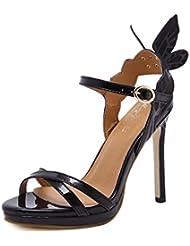 NobS Sandalias De Moda De Las Mujeres De Las SeñOras Sandalias De TacóN Alto Las Alas Del áNgel Del Arco Calzan Los Zapatos Ocasionales , black , 36