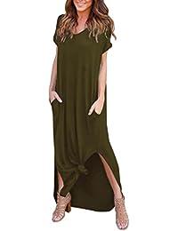 LuckyGirls ❤ Mujer Sexy Vestido de Fiesta Manga Corta Verano Elegante Bolsillo Irregular Maxi Vestido