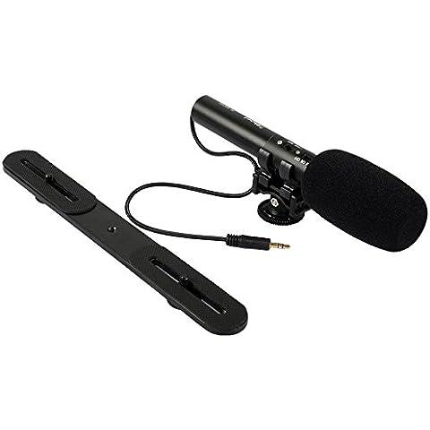 Profesional DC/micrófono estéreo con auriculares de 3,5mm Plug + cámara soporte soporte para cámara réflex digital y vídeo Videocámara