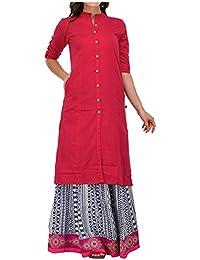 Muta Fashions Women's Cotton Blend Dress Material (Kurti358_01_Pink_Free Size)