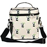 EcoRight Lunch Bag Reusable Cotton Canvas EcoFriendly Insulated Cooler Washable Zipper For Men, Women, Adults Printed Pandas (Natural) - 0801S01