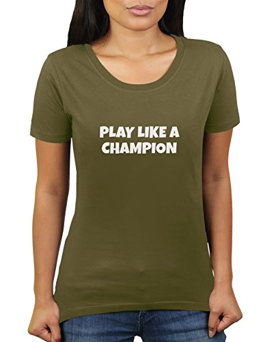 Play Like A Champion - Damen T-Shirt von KaterLikoli, Gr. 2XL, Olive -