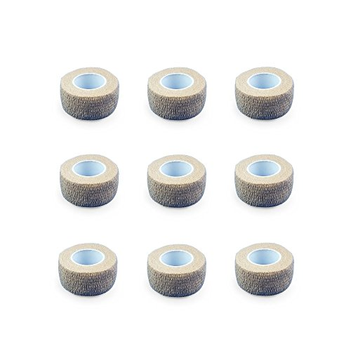 9er-Set Fingerverband | Pflasterverband | Pflaster ohne Kleber - in HAUTFARBEN - 2,5cm x 4,5m - elastisch, wasserabweisend, kohäsiv