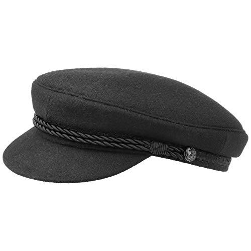 HAMMABURG Elbsegler Mütze Schwarz für Herren | traditionelle Kapitänsmütze mit Innenfutter | Matrosenmütze aus Tuch | Größe 58 cm | Schirmmütze mit Kordel, kurzem Visor und silbernen Knöpfen