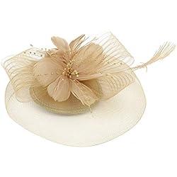 TENDYCOCO Pinza de pelo Horquilla Sombrero Malla Pluma Tocado Horquillas Boda Tea Party Hat para mujeres Grils (Dorado)