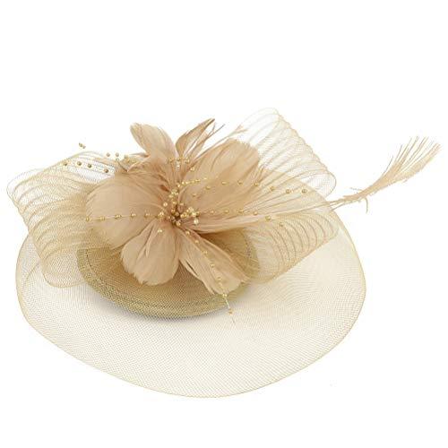 TENDYCOCO Mini Zylinder mit Blume Haarspange Feder Mesh Bogen Haarnadeln für Mädchen Dame Frauen Kostüm Zubehör (Golden)