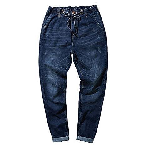 Niseng Homme Jeans Grand Taille Baggy Jeans Stretch Straight Denim Pantalon Occasionnels D'affaires Jeans Bleu Foncé 4XL