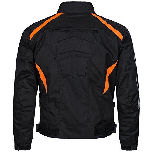 Limitless Herren Motorradjacke mit Protektoren und Reflektoren - Textil Motorrad Jacke aus Cordura - wasserdicht winddicht Schwarz Orange 784 Gr. 2XL - 2