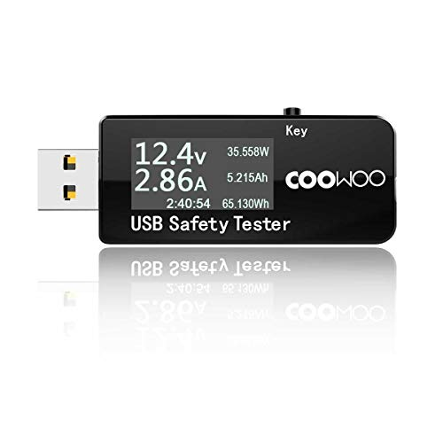 COOWOO USB Tester Digitaler Leistungsmesser Multimeter Tester Amperemeter Voltmeter DC 5,1A 30V, Monitor für Stromstärke, Spannung und Kapazität, Geschwindigkeitstest von Ladegeräten