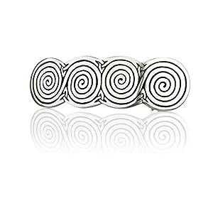 Celtic Spirals – Keltische Haarspange mit Spiralen – handgefertigt in England – Zinn & Edelstahl