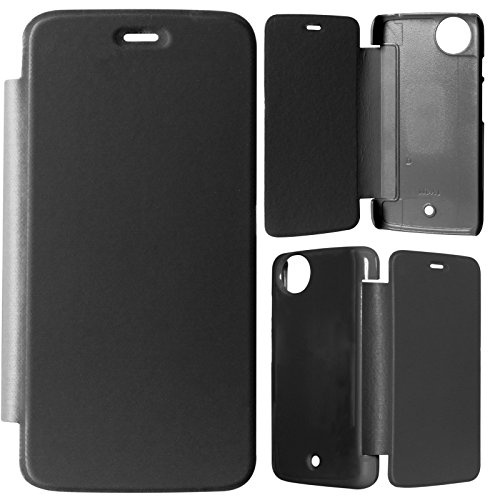 DMG Durable Protective PU Leather Flip Book Cover Case for Micromax Canvas Android A1 / Android One - Black