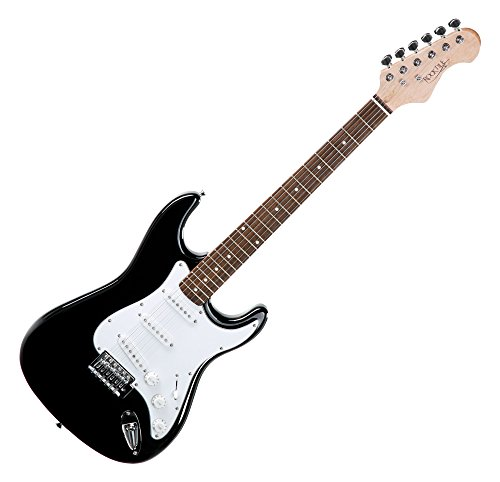 Rocktile Sphere Classic Black E-Gitarre (weißes Schlagbrett, 3x Single Coil Tonabnehmer, 21 Bünde, Palisander Griffbrett, Tremolo-Bridge, inklusive 2,5m Gitarrenkabel, Tremolohebel und Inbusschlüssel)