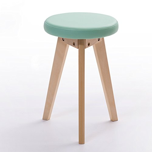 Stühle MEIDUO Haltbare Hocker Haushaltswaren Rubberwood Round Hocker PVC-Kissen Dressing Hocker in 5 Farben für den Innenbereich im Freien (Farbe : Grün, größe : A) (Grüne Frühstück Kissen)