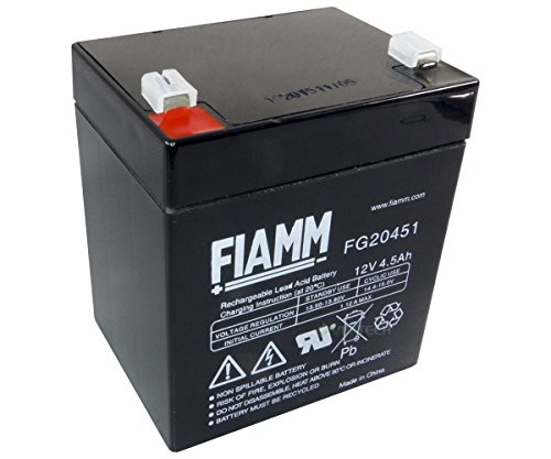 FIAMM Batteria ricaricabile al piombo-gel FG20451, 12 V, 4,5 Ah, USV 20451, AGM FASTON 4,8 mm