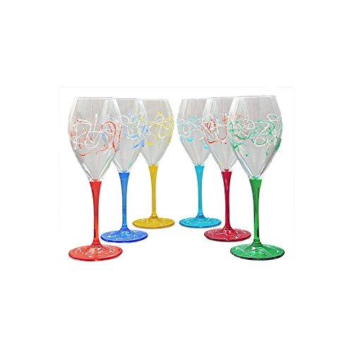 Set von 6 Weingläsern Jazz cl. 26 monocolour von Hand bemalt Glas, Murano Venedig Stil (Hand Weingläser Von Bemalt)