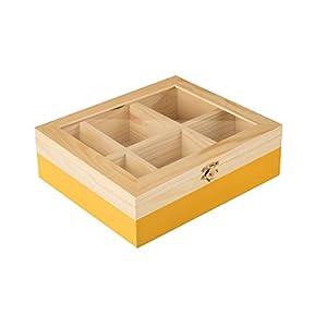 ibili 748510 Boîte à thé avec 6 Compartiments de pin Bois Brun/Orange 18 x 21,5 x 7 cm