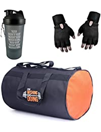 VELLORA Polyester Long Lasting Material, Duffel Bag, Orange Gym Bag with Sport Sipper Water Bottle and Black Color Gloves