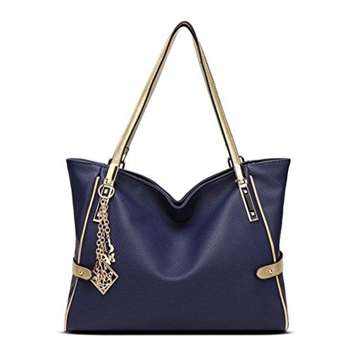 Honyemall Handbag Piccolo Borse a Spalla Donne Borse a Mano Tote in Pu Pelle(rosso) Blu