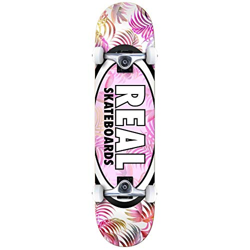 62bd24b8f856f Real Skateboards Oval Tropics Factory Complete Skateboard Large White Pink  8