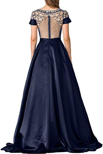 Gorgeous Bride Modern Lang Brautmutterkleider Rückenfrei Kurz Ärmel Satin Tüll Schleppe Abendkleider Lang Cocktailkleider Ballkleider Blau-Grün