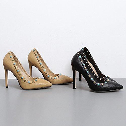 GS~LY Geschenk Die neuen Niete Farbe flach Mund High Heels Four Seasons wies dünne Schuhe apricot