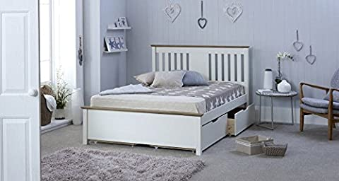 Happy Beds Chester Wooden Bed White and Oak with 4 Underbed Storage Drawers and Orthopaedic Mattress 4'6'' Double 135 x 190