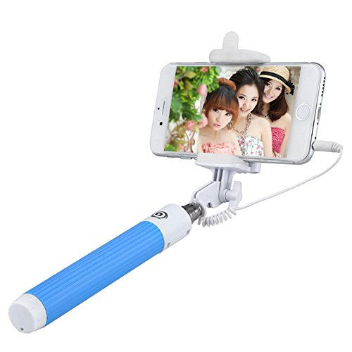 Selfie Stick, Valenth 3.5mm Audio Cable Foldable Extendable Wired Monopod for iPhone 6S Plus, Samsung Galaxy S7 LG HTC Black Blue