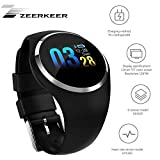 Smartwatch,Zeerkeer Armband Uhr Herzfrequenz/Blutdruck/Blutsauerstoffüberwachung Wasserdicht IP67 Facebook/Twitter/Whatsapp Fitness trackers (Schwarz)