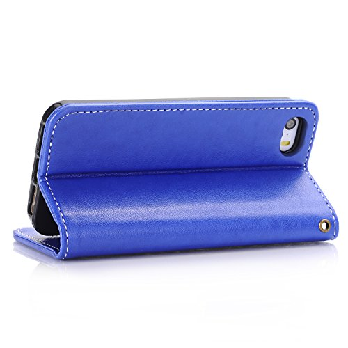 Cover iPhone 5 / 5S / SE,ToDo iPhone 5 / 5S / SE Custodia Pelle Premium PU 3D Stampata Folio Sottile Silicone Morbido Case ID Slot per Scheda Antigraffio Magnetico Flip Protettiva Invisibile Chiusura  blu