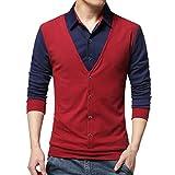 Xmiral Herren Tops Bluse Lässige Mode Gefälschte Zwei T-Shirt Langarm Patchwork Shirt Gentleman Weste Party Kostüm(XL,Rot)