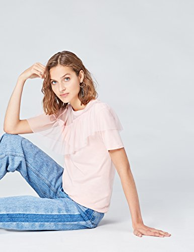 FIND Damen T-Shirt mit asymmetrischer Raffung Rosa (Blush)