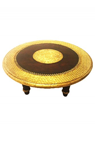 Marokkanischer Wohnzimmertisch Couchtisch aus Holz massiv Sharada 90cm   Vintage Tisch aus Massivholz mit Messing verziert für Ihre Wohnzimmer   Niedriger