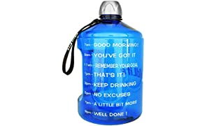 BuildLife Botella de Agua de 1 galón para Entrenamiento, con Marcador de Tiempo, Bebe más Agua Diaria, sin BPA, Grande, 128 onzas de Agua Durante Todo el día, Color 2.2L-Blue, tamaño 2.2L