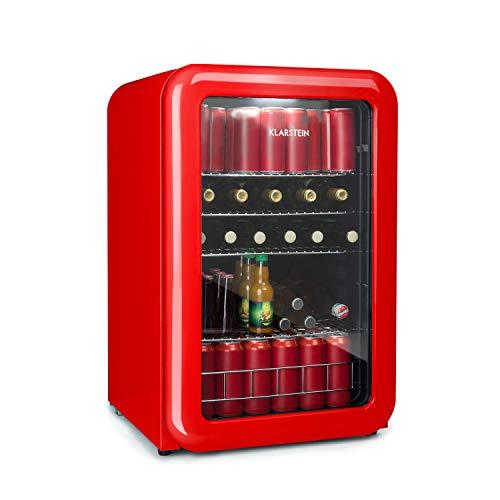 Klarstein PopLife Retro Getränkekühlschrank - A+, 115 Liter, 0-10°C, doppelt verglaster Fronttür, LED-Licht, nur 39 dB, Retro-Kühlschrank, Mini-Kühlschrank, rot [Energieklasse A+]