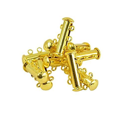 sharplace 10Multi 3Strand Slide Lock Magnetverschluss Tube Messing Verschlüsse Stecker für Halskette Armband Schmuck Ergebnisse DIY machen, gold, 21 x 10 x