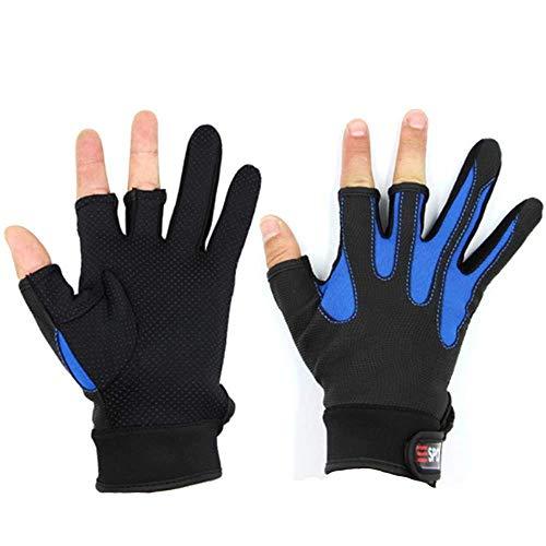 Uteruik Angelhandschuhe für Herren, wasserabweisend, 3 geschnittene Finger, atmungsaktiver Sonnenschutz, Fliegenfischen, 1 Paar -