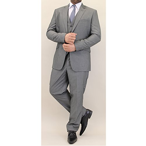 Hommes Mélange Laine Tweed Blazers Gilets Pantalon 3 Pièces Pour By Cavani Gris - VERONA