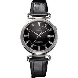 J&T Windmills Gents Black Leather & Silver English 17 Jewels Mechanical Watch