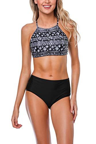 Vegatos Damen Bikini-Set Geometrisches Muster Neckholder High Waist Geteilter Badeanzug Bademode Bikinis Schwarz XL (Badeanzug Stil)
