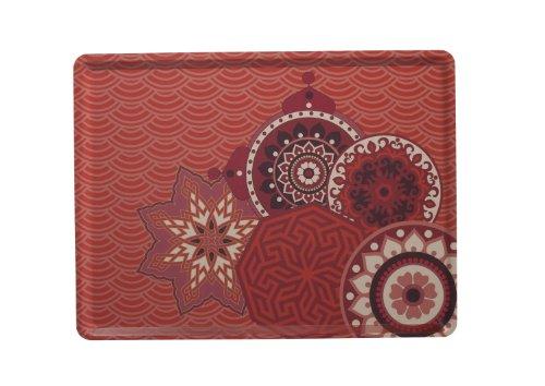 Platex 104030209S Plateau Slim Décor Perse Stratifié Rouge Corail 40 x 30 x 0,5 cm