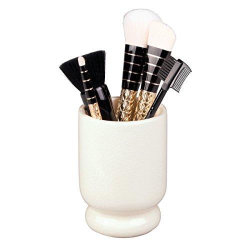 mDesign Zahnbürstenbecher - stilvolle Halterung für Zahnbürsten aus Keramik mit Krakelee-Effekt - auch für Kosmetikaufbewahrung z.B. von Make-Up-Pinsel