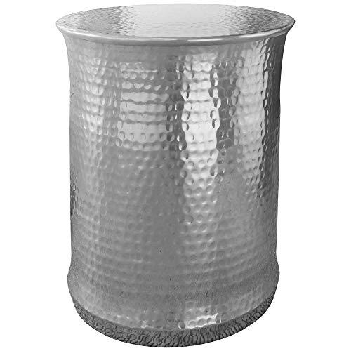 FineBuy Beistelltisch Taron 41x50x41 cm Aluminium Orientalisch Rund   Kleiner Sofatisch Metall Hammerschlag   Designer Ablagetisch Modern   Anstelltisch Schmal   Wohnzimmertisch Couchtisch