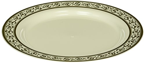 Decor Cream with Gold Rim 9 Heavyweight Plastic Dinner Plates 10 Count by buyNsave Gold Rim Dinner