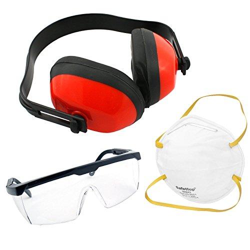3tlg. Arbeitsschutz-Set bestehend aus Gehörschützer, Schutzbrille & Staubmaske (Staubmaske Augen -)