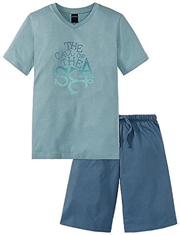 Schiesser Jungen Zweiteiliger Schlafanzug Maritim Anzug kurz 156741, Gr. 128, Grün (mineral 709)