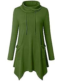 Damen Pullover | MEIbax Damen Rollkragenpullover Asymmetrischer Tunika Oberteil mit Taschen