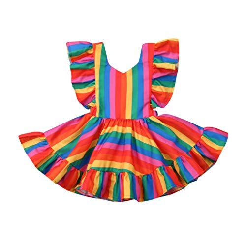Quaan Kleinkind Baby Kinder Mädchen Rüschen Geraffte Regenbogen Streifen Kleid Freizeitkleidung Ärmellos Stickerei Prinzessin Festzug Kleider Abschlussball Ballkleid