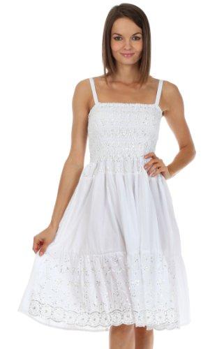 Sakkas Femmes Sequin brodé smocks corsage longueur au genou robe Blanc