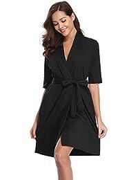 06f688972d Aibrou Women Waffle Weave 100% Cotton Bathrobe Dressing Gown Lightweight  Robe for Spa Hotel Sleepwear